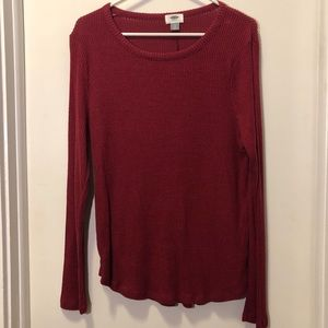 Old Navy soft ribbed dark red long sleeve tee